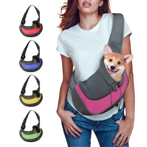 Girl wearing a pet carrier